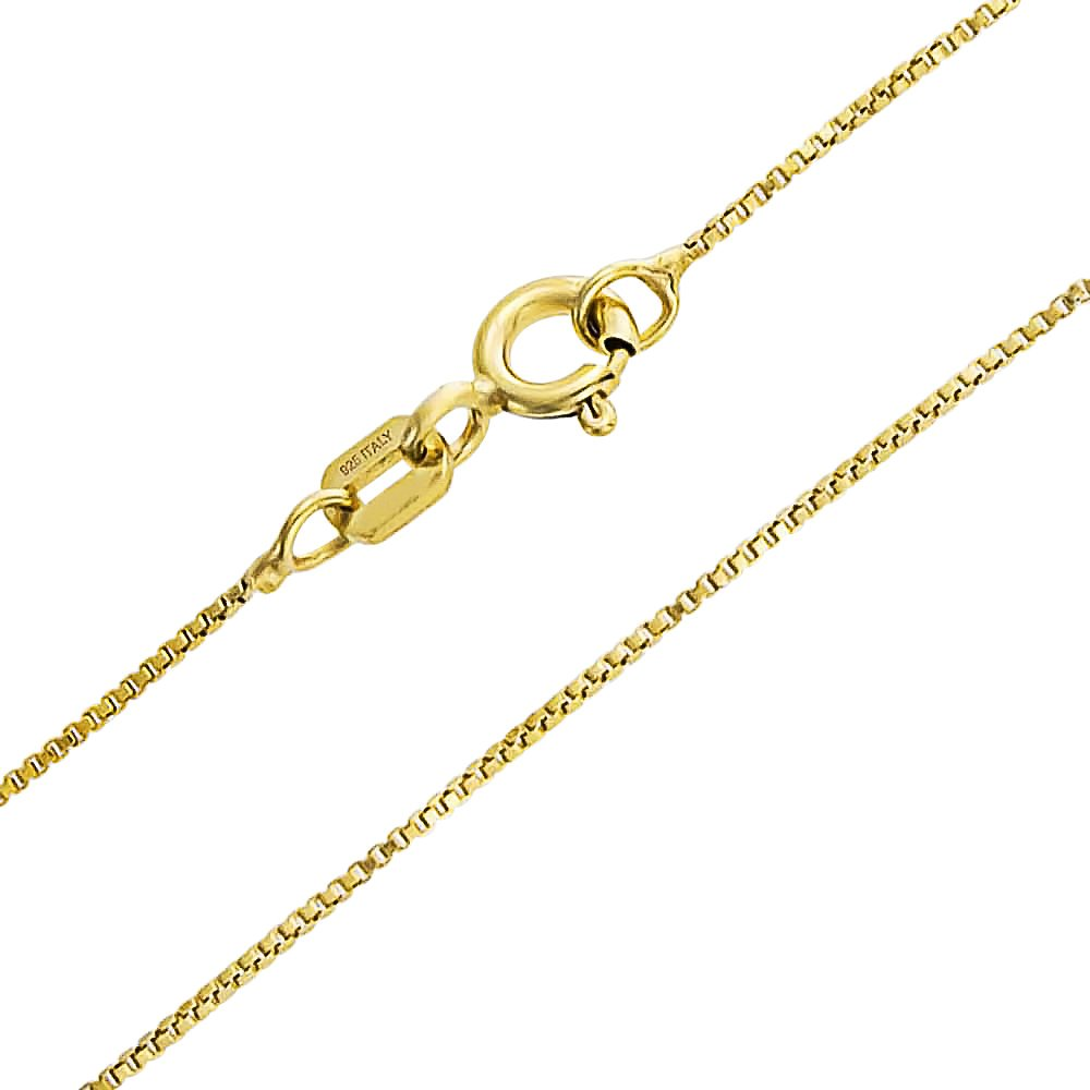 Box Chain Link Necklace Thin 925 Silver Gold Plated Made in Italy Bling Jewelry CHY-BOX010-G-20