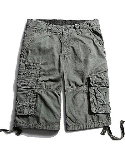 - OCHENTA Men's Casual Lightweight Outdoor Cargo Flat Front Shorts Grey 38