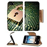 Liili Premium Apple iPhone 5 iphone 5S Flip Pu Leather Wallet Case Security concept circuit board with Opened Padlock icon 3d render iPhone5 Photo 17549336 Simple Snap Carrying
