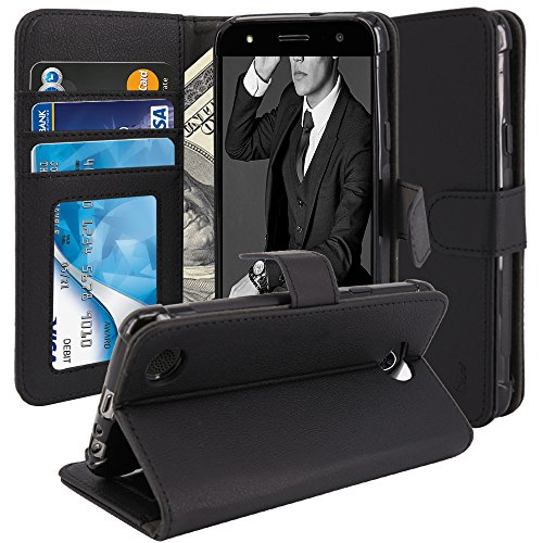 LG Fiesta LTE Case, LG X Charge Case, LG X Power 2 Case, TAURI [Stand Feature] Wallet [PU Leather] Protective Case Flip Cover For LG Fiesta LTE / LG X Charge / LG X Power 2 – Black