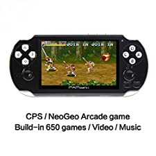 CZT 64Bit Handheld Game Console 4.3'' Video Game Console Support Built-in 650 CPS/NEOGEO/GBA/SFC/MD/FC/GBC/SMS/GG Games Mp5 Player (Black)