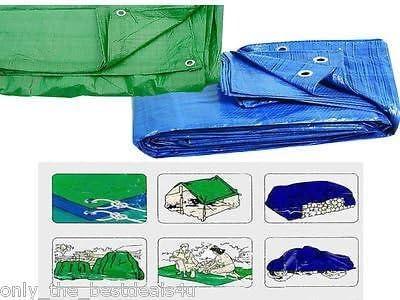 "Heavy duty Tarpaulin Blue 12/"" x 9/"" Waterproof Ground Cover Sheet Lightweight"