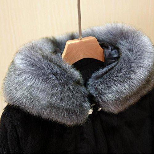 Gruesa Completo Negro Grande Piel Abrigo Logobeing Elegantes de Tamaño Con Abrigos de Capucha Sintética Mujer Uxf60O