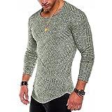 Men's Hipster Sweatshirt Swag Hip Hop Shirts O Neck Side Split Arc-Shaped Hem (S, Light Green)
