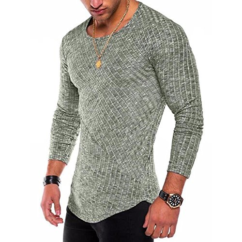 Men's Hipster Sweatshirt Swag Hip Hop Shirts O Neck Side Split Arc-Shaped Hem (S, Light Green) by JXEWW