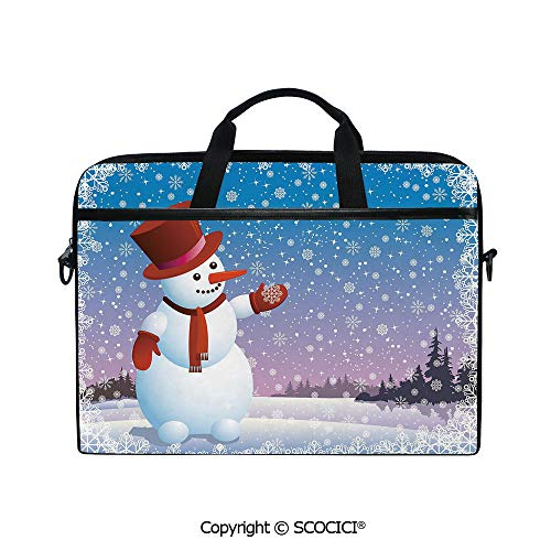 Laptop Sleeve Notebook Bag Case Messenger Shoulder Laptop Bag Cartoon Happy Snowman Looking at The Snowflake ICY Winter Scenery Evergreen Woods Decorative with Handle and Extra Side Pockets