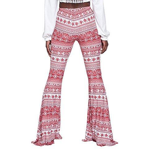 Soirée Confortables Rose Festifs Huateng À Vêtements Pantalons Évasés Bootcut Élégants Taille De Haute 2192 Pants Femmes Décontractés wgqvx6gaO