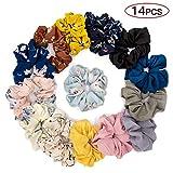 14 Pack Hair Scrunchies Large Women's Chiffon Flower Hair Scrunchies Hair Bow Chiffon Ponytail Holder
