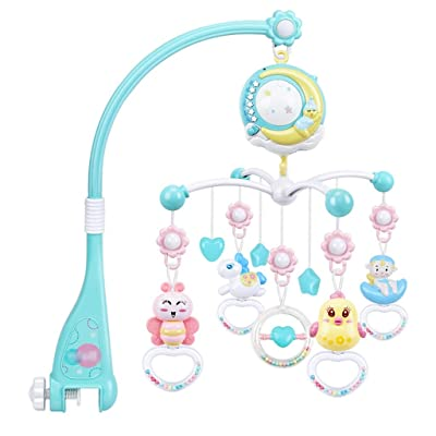 MAJINCGJ Newborn baby toy Baby Toys 0-1 Baby Bed Bell Music Rotating Projection 3 Months Newborn Children Bedside Wind Chime Pendant Teeth Rubber Appease Hand Grab Rattle Gift Box Star Moon (sky Blue) : Baby