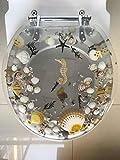 Heavy Duty Comfort Seahorse Seashells Round Toilet Seats with Cover Acrylic Seats.(New Sea Clear