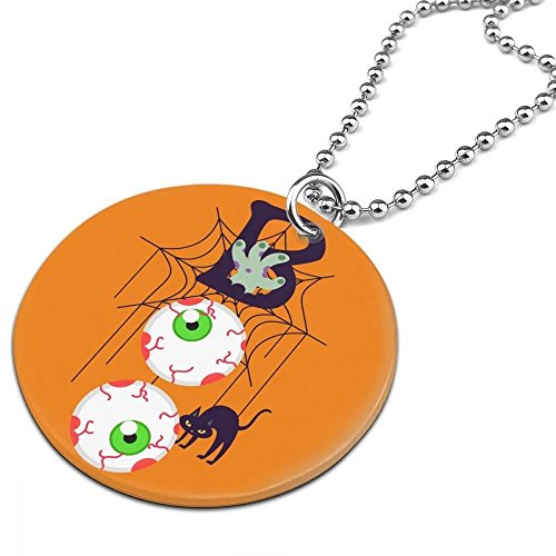 Vintage BOO Jointed Halloween Black Cat Women Men Jewelry Chain Necklace With Round Pendant