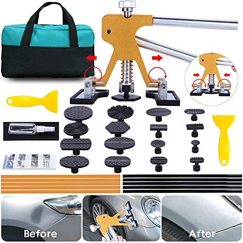 ARISD Auto Paintless  Dent Repair Kits - Adjustable Gold Dent Lifter Dent Repair Tool  Kit,Pops a Dent puller Kit for Car Hail Damage Repair and Car Dent Removal (Best Dent Puller Kit)