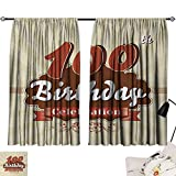 Jinguizi 100th Birthday Two Panels Chocolate Wrap Like Brown Party Invitation Hundred Years Celebration Darkening Darkening Curtains Cinnamon and Cream W55 x L39