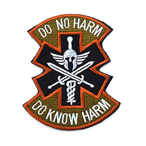 WZY Velcro Patch Spartan Medic U.S. Army Tactical Combat Badge - Red (Do Know No Harm)