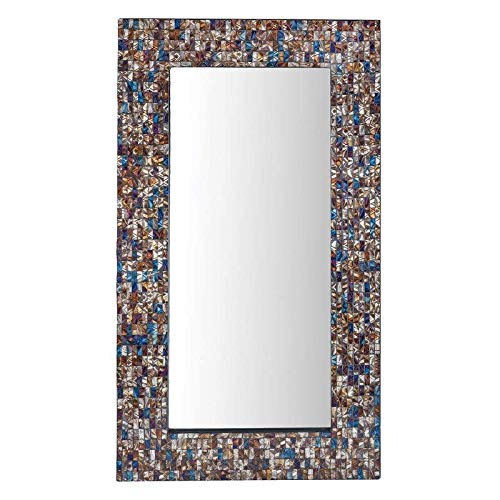 Bloomsbury Market Hand-Inlaid Glass Rectangle Multi-Colored Accent Wall Mirror + Free Basic Design Concepts Expert - Accents Inlaid Glass