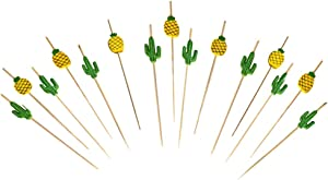 Tropical Fruit Picks - Pineapple and Cactus Design Bamboo Cocktail Skewer Sticks - Wooden Appetizer Dessert and Food Utensils - Mini Kebabs For Cocktail Party Snacks and More - 40 Piece Set