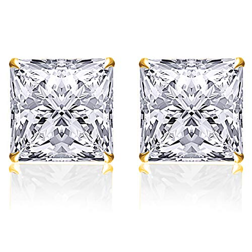 14K CZ Yellow Gold Square Stud
