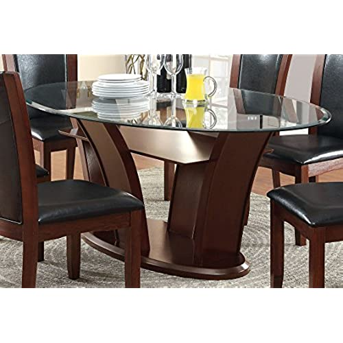 Furniture Of America Okeho Contemporary Oval Glass Top Dining Table