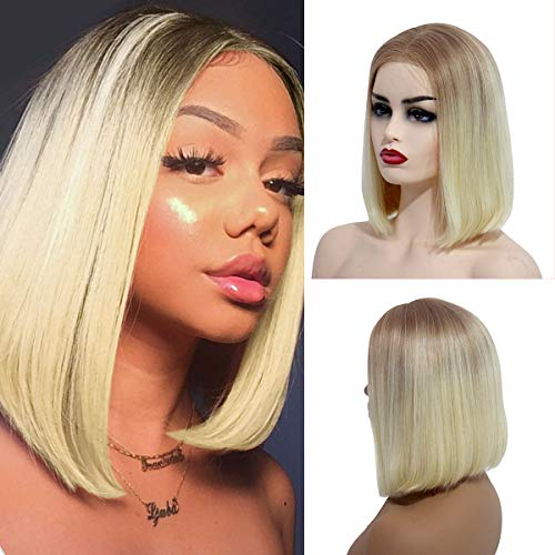 613 Bob Wig Human Hair 2 Tone Blonde Straight Ombre Lace Wigs Summer Hairstyle Short Cosplay Hair Wigs for Women 12/613 Colored Lace Front Wigs 12 Inch