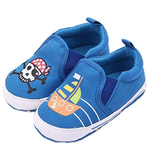 (Femizee Newborn Baby Crib Shoes Infant Boys Girls Soft Skull Anti-Slip Dress First Walkers,Blue Pirate,1050 12-18 Months)