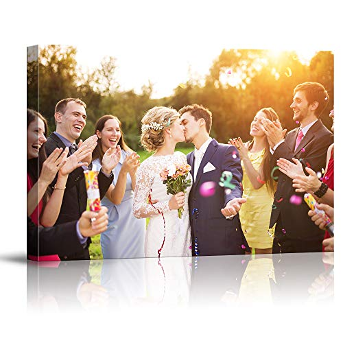 SIGNFORD Custom Canvas Prints, Beach Marriage Pictures Personalized Poster Wall Art with Your Photos Wood Frame Digitally Printed
