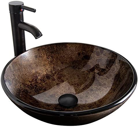Bathroom Vessel Sink with Faucet Mounting Ring and Pop Up Drain 16.5 Round Bowl Basin,Brown