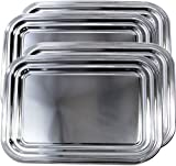 Maro Megastore (Pack of 4) 16.2'' x 12.1'' Traditional Rectangular Trim Catering Plain Design Chrome Plated Serving Tray Deco Art Plate Metal Steel Mirror Platter Holiday Wedding Party (Medium) T664-4PK