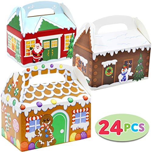 - 24 Pieces 3D Christmas House Cardboard Treat Boxes for Holiday Xmas Goody Gift, Goodie Paper Boxes, School Classroom Party Favor Supplies, Candy Treat Cardboard Cookie Boxes.