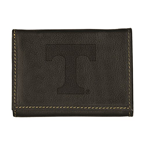 University of Tennessee Contrast Stitch Trifold Leather Wallet (Black)