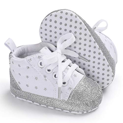Baby Boys Girls Shoes High Top Soft Sole Infant Sneaker for 3-18 Months (3-6 Months M US Infant, b01-white)