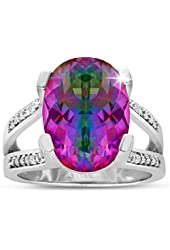 5 1/2ct Oval Shape Mystic Topaz and Diamond Ring Crafted In Solid Sterling Silver