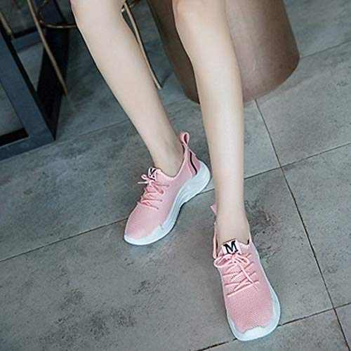 Summer ZHZNVX Rosa White Mujer Comfort Sneakers de Heel Tulle Zapatos Toe Flat Round Negro Blanco awwrSxR