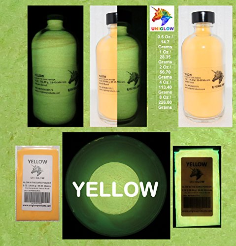 Yellow Glow in the Dark Pigment Powder (0.5 Oz / 14.18 Grams, Yellow) LONGEST LASTING GLOW POWDER. RECOMMENDED FOR ALL COLORLESS MEDIUM. INK. PAINT. PLASTIC RESIN. GLASS.etc