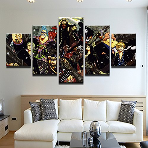 HAO SHUN DA Wall Decoration Oil Painting Modern Canvas Art Pictures Frame 5 Panel ONE Piece Anime Cartoon Characters HD Print Poster
