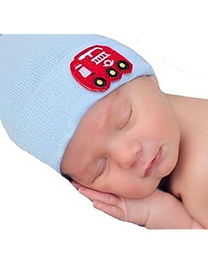 Melondipty Solid Blue Baby Hat with Firetruck Felt Patch Newborn Hospital Hat