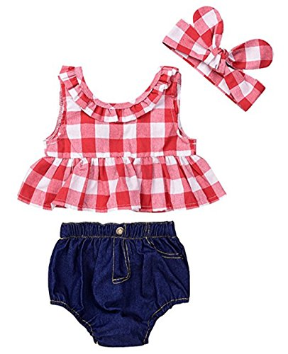 (Catpapa Baby Girls Summer Plaid Ruffle Bowknot Tank Top+Denim Shorts Outfit with Headband (0-6 Month) )