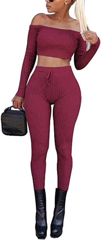 Halfword Women's Sexy Two Piece Outfits - Crop Top with Bodycon Skinny Pants