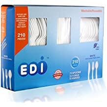 EDI Disposable Plastic Cutlery Set,70 Forks,70 Knives,70 Spoons, White, 210 Count