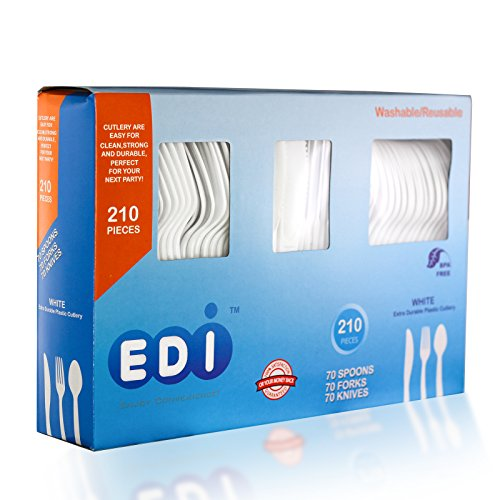 Price comparison product image EDI Disposable Plastic Cutlery Set,70 Forks,70 Knives,70 Spoons, White, 210 Count