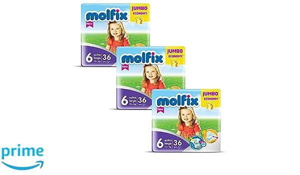 molfix Extralarge/Jumbo bajo Pack de 108 capas 15 + kg 1 Meses Tamaño 6: Amazon.es: Salud y cuidado personal