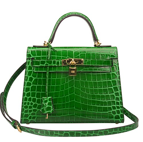 Embossed Leather Shoulder Bag - Ainifeel Women's Padlock Crocodile Embossed Patent Leather Shoulder Handbags (28cm, Green)