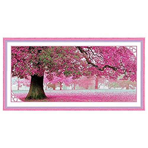 Pixnor 110 x 55cm Sakura Cherry Blossom Trees DIY Cross Stitch Embroidery Kit Home Decor Arts, Crafts Sewing Cross Stitch
