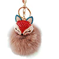 AutumnFall Fox Fur Ball with Artificial Fox Head Inlay Pearl Rhinestone Key Chain (Brown)