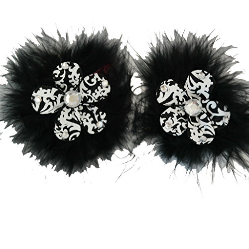Chicky Chicky Bling Bling Sweet and Sassy Marabou Flower Hair Clips Black and white lace
