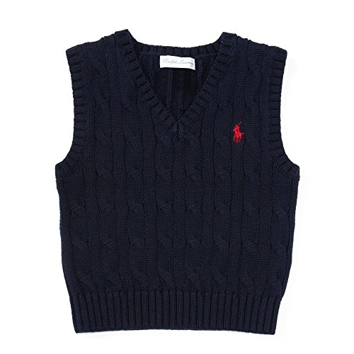 Ralph Lauren Baby Boys' Cable-Knit Cotton Sweater Vest (6 Months, Hunter Navy) (Ralph Lauren Embroidered Vest)