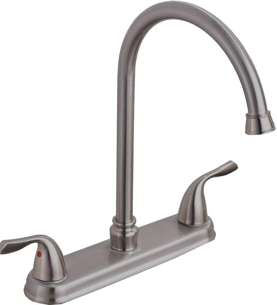 Hotis Commercial Stainless Steel Lead-Free Two Lever Two Hole Gooseneck High Arc Two Handle Kitchen Sink Faucet, Kitchen Faucet