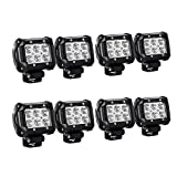 LED Light Bar Nilight 8PCS 4 Inch 18W LED Bar 1260lm Spot Led Off Road Lights Led Driving Fog Lights Jeep Lighting LED Work Light ,2 Years Warranty