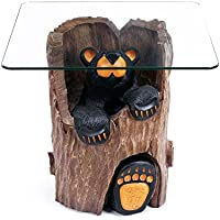 Big Sky Carvers Ruthie Bearfoots Bear Glass Topped End Table