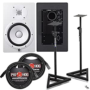 yamaha hs8 studio monitor pair in white with samson stands and xlr cables musical. Black Bedroom Furniture Sets. Home Design Ideas