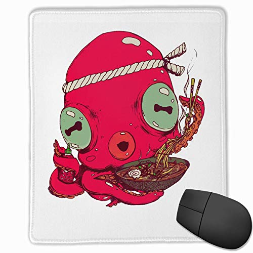 Octopus Eat Lobster Ramen Quality Comfortable Game Base Mouse Pad with Stitched Edges Size 11.81 9.84 Inch]()